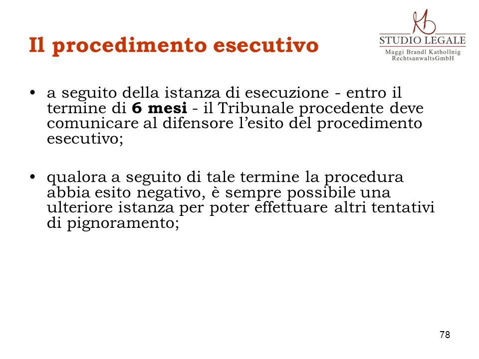 Il procedimento esecutivo a seguito della istanza di esecuzione - entro il termine di 6 mesi - il Tribunale procedente deve comunicare al difensore le