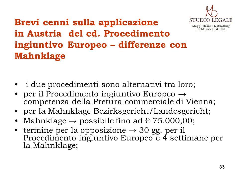Brevi cenni sulla applicazione in Austria del cd. Procedimento ingiuntivo Europeo – differenze con Mahnklage i due procedimenti sono alternativi tra l