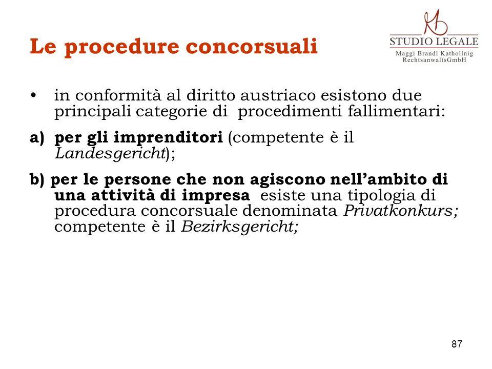 Le procedure concorsuali in conformità al diritto austriaco esistono due principali categorie di procedimenti fallimentari: a)per gli imprenditori (co