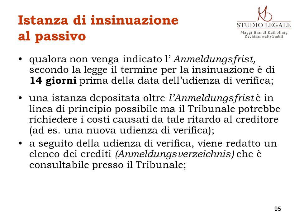 Istanza di insinuazione al passivo qualora non venga indicato l Anmeldungsfrist, secondo la legge il termine per la insinuazione è di 14 giorni prima