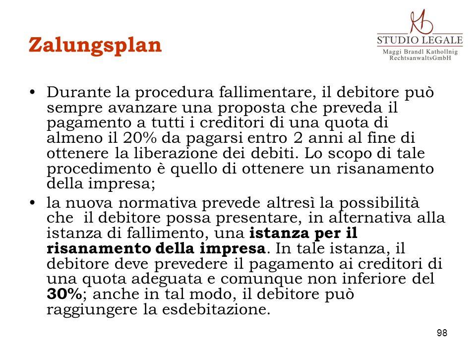 Zalungsplan Durante la procedura fallimentare, il debitore può sempre avanzare una proposta che preveda il pagamento a tutti i creditori di una quota
