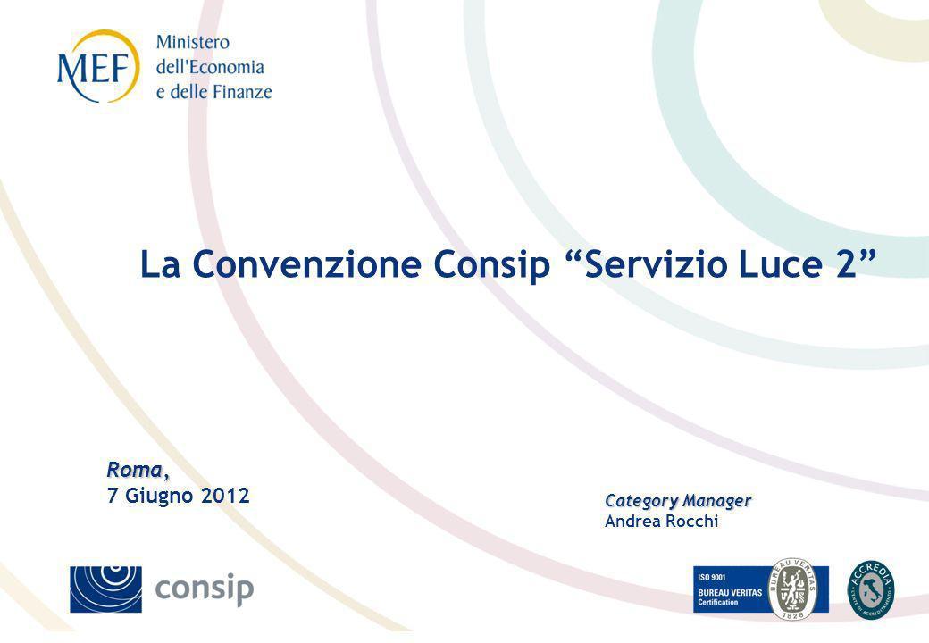 Roma, Roma, 7 Giugno 2012 Category Manager Andrea Rocchi La Convenzione Consip Servizio Luce 2