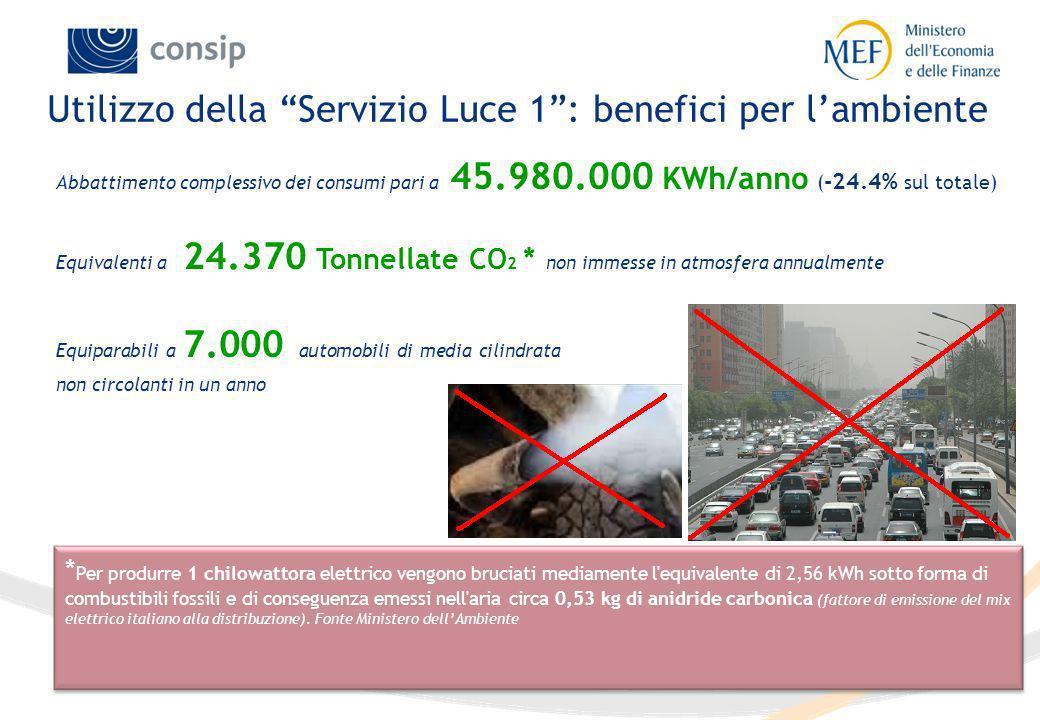 10 Utilizzo della Servizio Luce 1: benefici per lambiente * Per produrre 1 chilowattora elettrico vengono bruciati mediamente l'equivalente di 2,56 kW