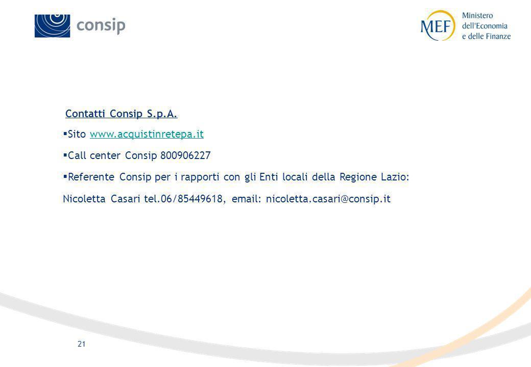 21 Contatti Consip S.p.A. Sito www.acquistinretepa.itwww.acquistinretepa.it Call center Consip 800906227 Referente Consip per i rapporti con gli Enti