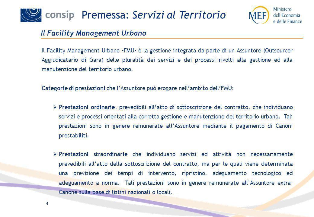 4 Il Facility Management Urbano Il Facility Management Urbano –FMU- è la gestione integrata da parte di un Assuntore (Outsourcer Aggiudicatario di Gar