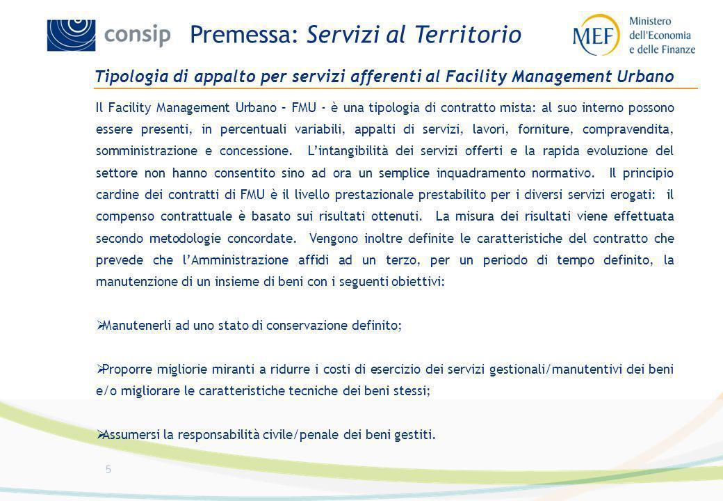5 Tipologia di appalto per servizi afferenti al Facility Management Urbano Il Facility Management Urbano – FMU - è una tipologia di contratto mista: a