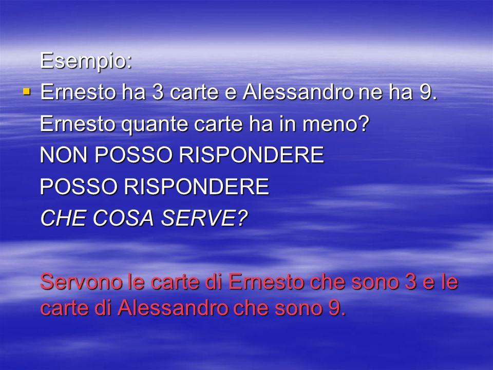 Esempio: Esempio: Ernesto ha 3 carte e Alessandro ne ha 9. Ernesto ha 3 carte e Alessandro ne ha 9. Ernesto quante carte ha in meno? Ernesto quante ca