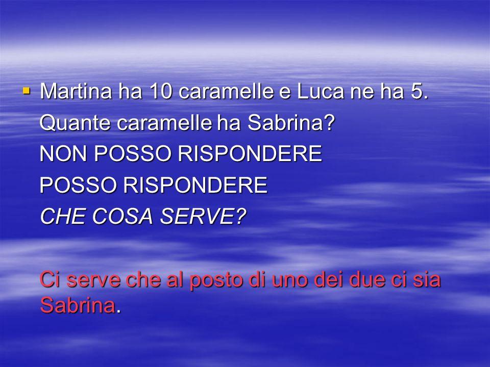 Martina ha 10 caramelle e Luca ne ha 5. Martina ha 10 caramelle e Luca ne ha 5. Quante caramelle ha Sabrina? Quante caramelle ha Sabrina? NON POSSO RI
