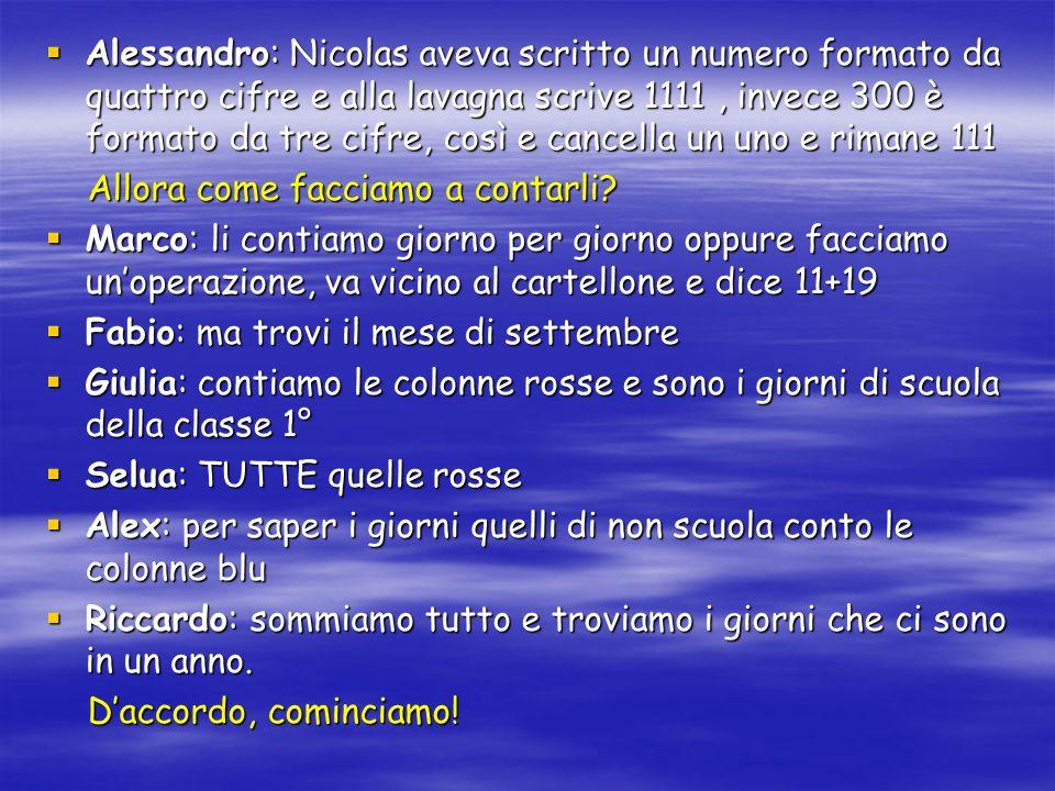 Alessandro: Nicolas aveva scritto un numero formato da quattro cifre e alla lavagna scrive 1111, invece 300 è formato da tre cifre, così e cancella un