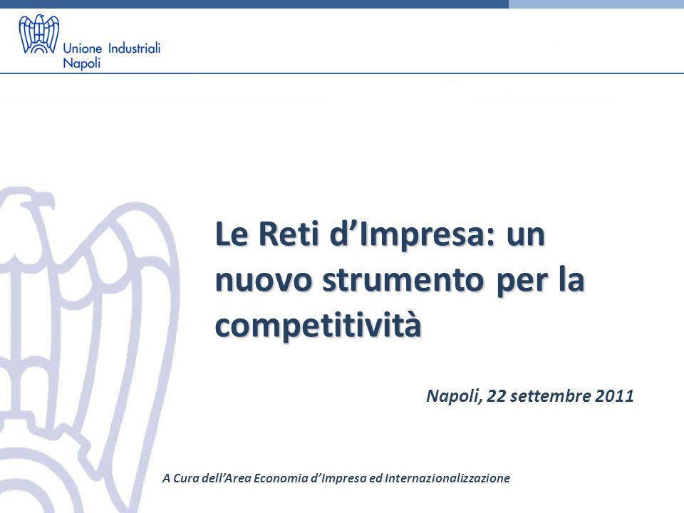 Le Reti dImpresa: un nuovo strumento per la competitività Napoli, 22 settembre 2011 A Cura dellArea Economia dImpresa ed Internazionalizzazione