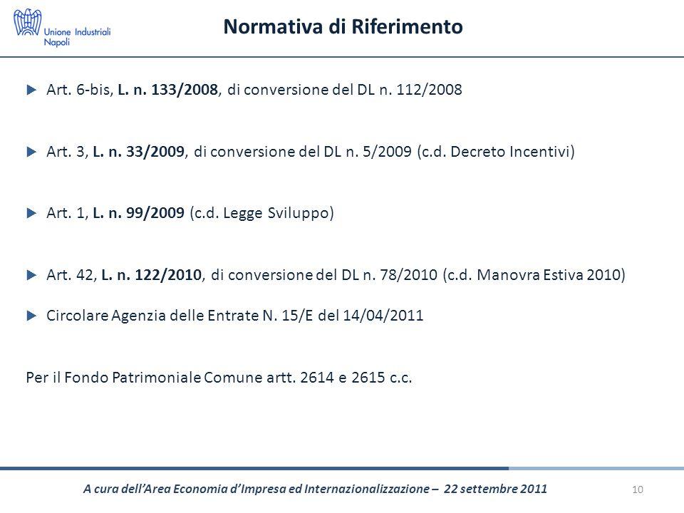 Normativa di Riferimento Art. 6-bis, L. n. 133/2008, di conversione del DL n. 112/2008 Art. 3, L. n. 33/2009, di conversione del DL n. 5/2009 (c.d. De