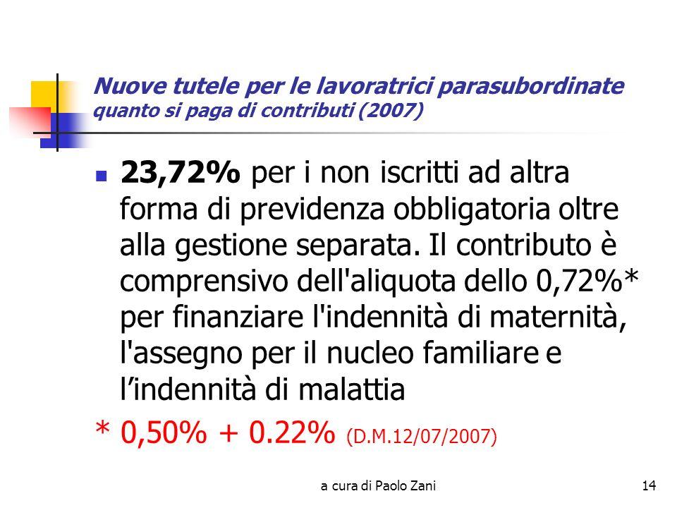 a cura di Paolo Zani14 Nuove tutele per le lavoratrici parasubordinate quanto si paga di contributi (2007) 23,72% per i non iscritti ad altra forma di previdenza obbligatoria oltre alla gestione separata.
