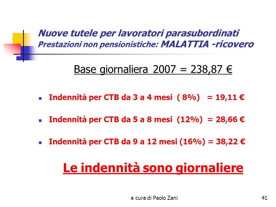 a cura di Paolo Zani41 Nuove tutele per lavoratori parasubordinati Prestazioni non pensionistiche: MALATTIA -ricovero Base giornaliera 2007 = 238,87 Indennità per CTB da 3 a 4 mesi ( 8%) = 19,11 Indennità per CTB da 5 a 8 mesi (12%) = 28,66 Indennità per CTB da 9 a 12 mesi (16%) = 38,22 Le indennità sono giornaliere