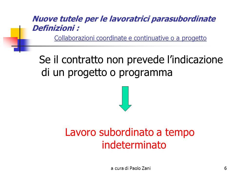 a cura di Paolo Zani47 Nuove tutele per lavoratori parasubordinati Prestazioni non pensionistiche: MALATTIA – no ricovero Requisiti (uguali a quelli per la degenza ospedaliera) REDDITUALE reddito non superiore al 70% del massimale CTB (per il 2007 61.031) CONTRIBUTIVO Almeno tre mensilità nei dodici mesi precedenti levento