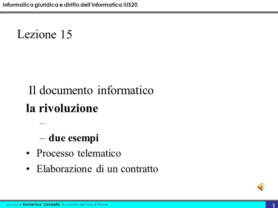 Informatica giuridica e diritto dellinformatica IUS20 a cura di Domenico Condello Avvocato del Foro di Roma 12..dematerializzazione In questo senso il concetto di dematerializzazione si può considerare come lestensione alla P.A.