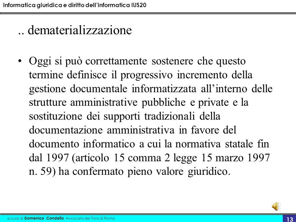 Informatica giuridica e diritto dellinformatica IUS20 a cura di Domenico Condello Avvocato del Foro di Roma 13..