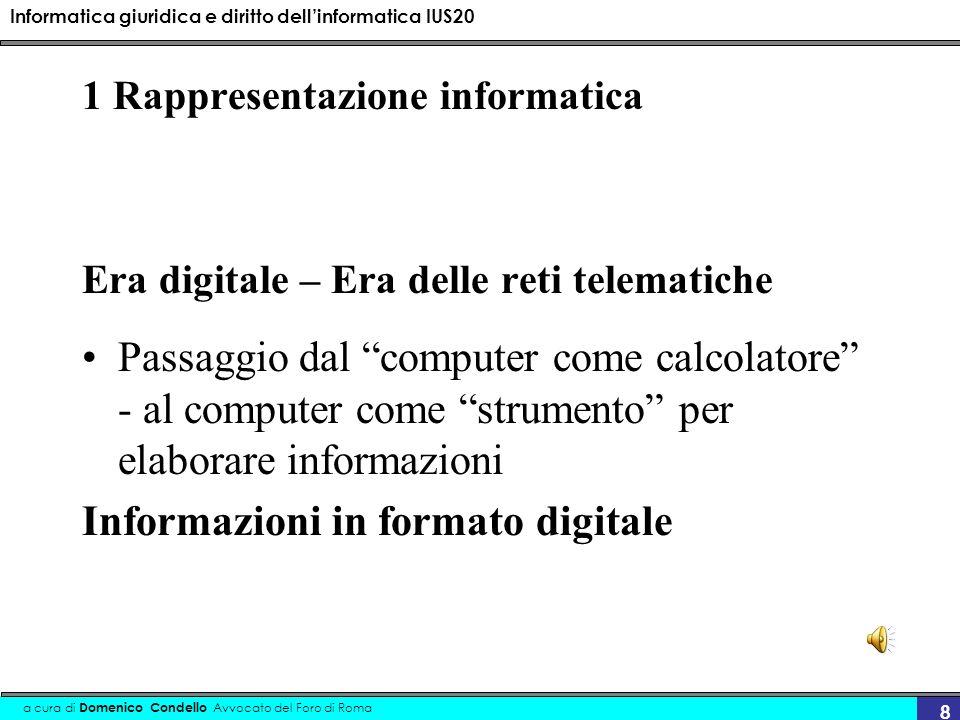 Informatica giuridica e diritto dellinformatica IUS20 a cura di Domenico Condello Avvocato del Foro di Roma 9 ….rappresentazione informatica Digitale = (Digit = cifra) era dei numeri Sistema decimale - sistema binario