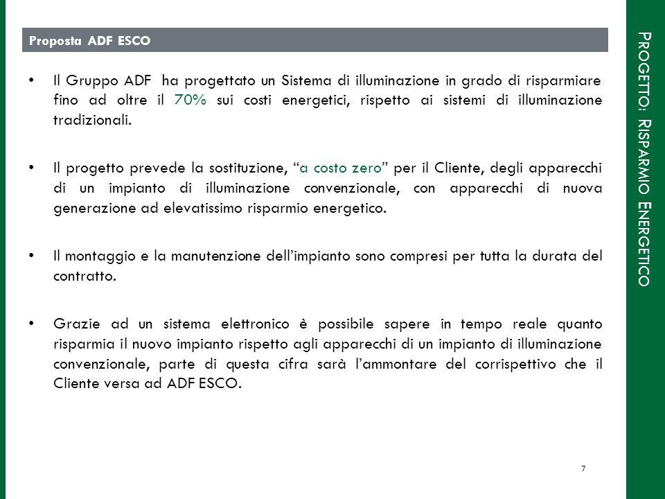 P ROGETTO : R ISPARMIO E NERGETICO Proposta ADF ESCO Il Gruppo ADF ha progettato un Sistema di illuminazione in grado di risparmiare fino ad oltre il 70% sui costi energetici, rispetto ai sistemi di illuminazione tradizionali.