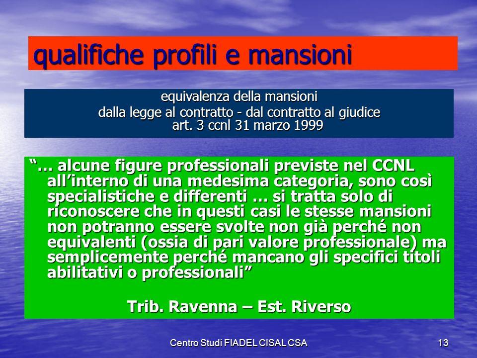 Centro Studi FIADEL CISAL CSA12 Alcuni problemi da risolvere: Equivalenza professionale/contrattuale delle mansioni Equivalenza professionale/contratt