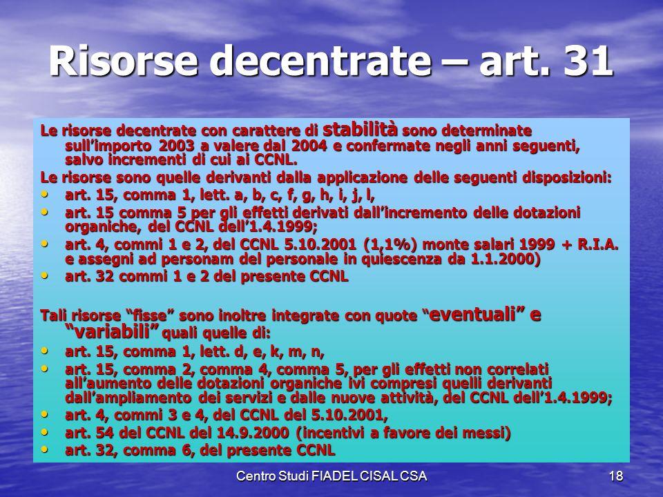 Centro Studi FIADEL CISAL CSA17 Titolo IV – Trattamento Economico Sono indicati gli incrementi tabellari, tenendo conto dellinflazione programmata su
