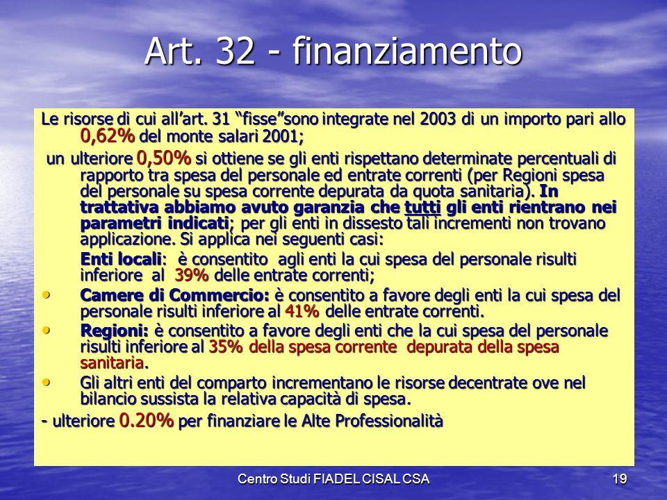 Centro Studi FIADEL CISAL CSA18 Risorse decentrate – art. 31 Le risorse decentrate con carattere di stabilità sono determinate sullimporto 2003 a vale