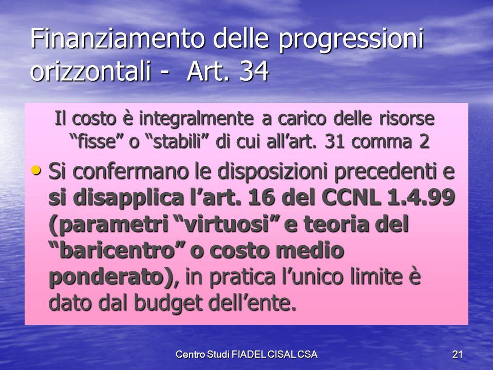 Centro Studi FIADEL CISAL CSA20 Indennità di Comparto - Art. 33 La vera novità nellimpianto del salario Lindennità di comparto è generale, cioè assegn