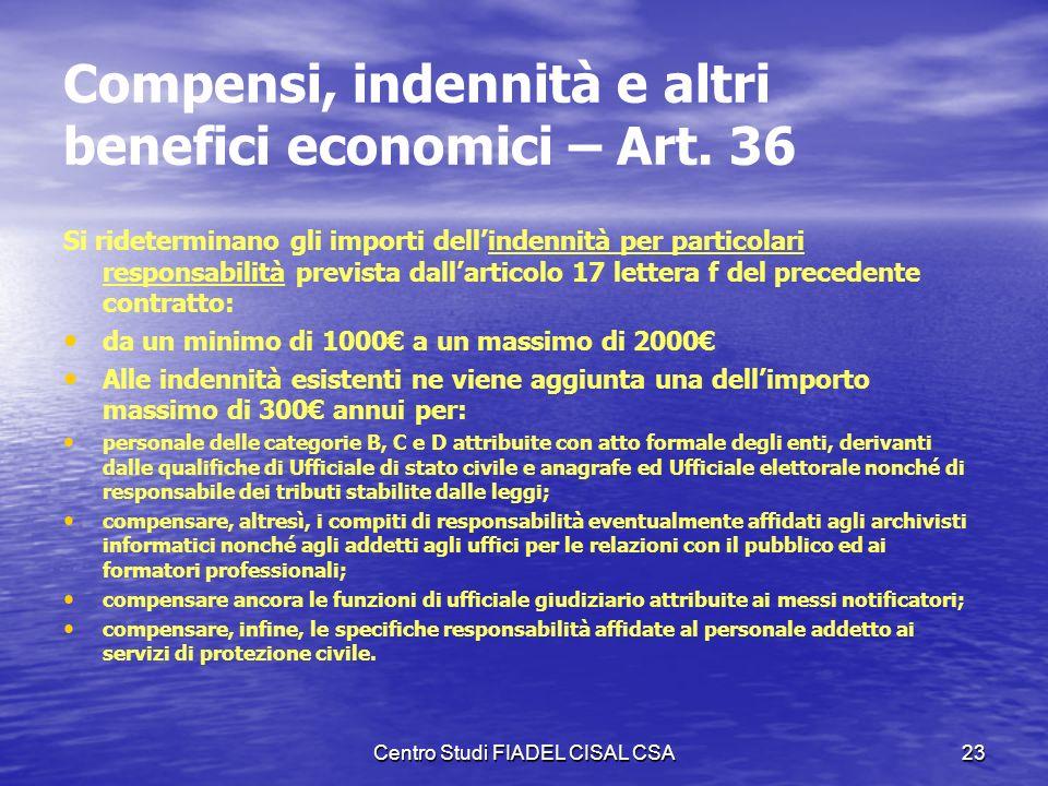 Centro Studi FIADEL CISAL CSA22 Integrazione delle posizioni economiche orizzontali – Art. 35 B 7 D 6 B 6 D 5 C 5 B 5 A 5 D 4 C 4 B 4 A 4 D 3 C 3 B 3