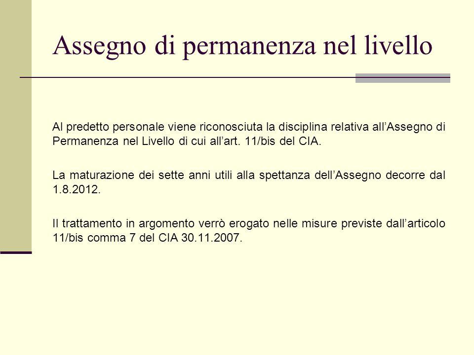 Assegno di permanenza nel livello Al predetto personale viene riconosciuta la disciplina relativa allAssegno di Permanenza nel Livello di cui allart.