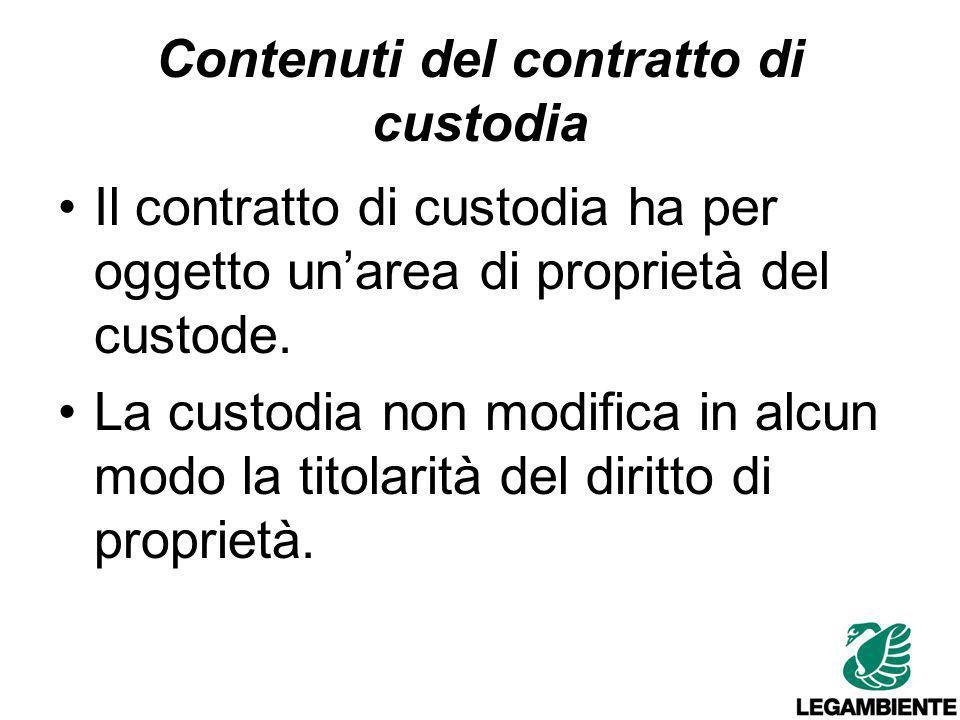 Contenuti del contratto di custodia Impegni del custode (se larea è edificabile): rinuncia ai diritti edificatori, a non costruire alcun manufatto e a non ampliare quelli eventualmente esistenti.