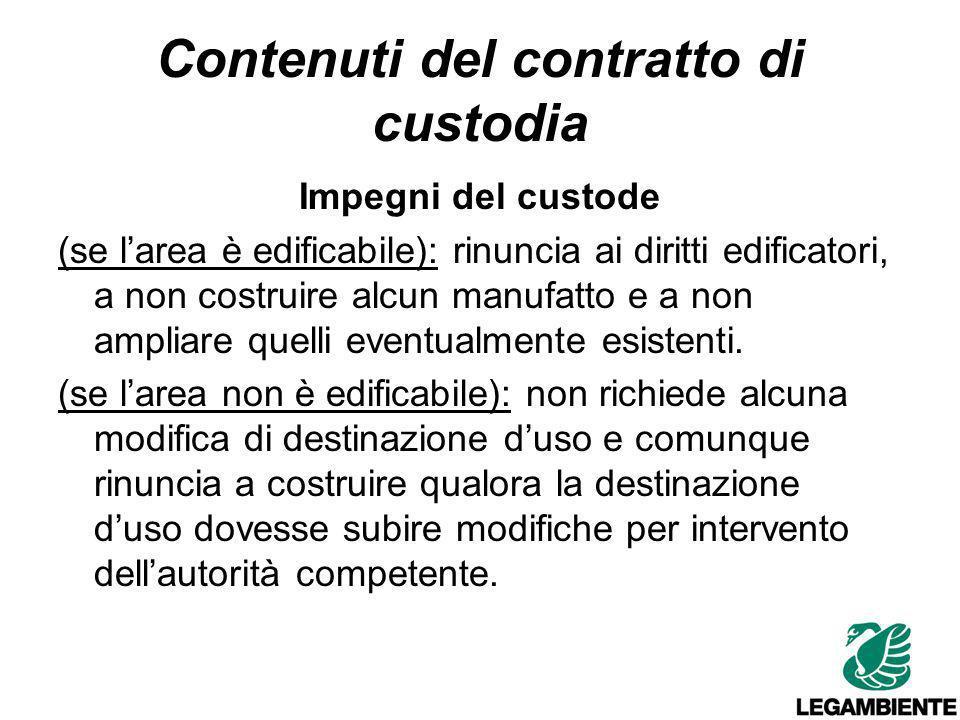 Contenuti del contratto di custodia Impegni del custode Autorizza linserimento del suo nominativo e dei dati identificativi dellarea nel sito web www.custodiadelterritorio.it.
