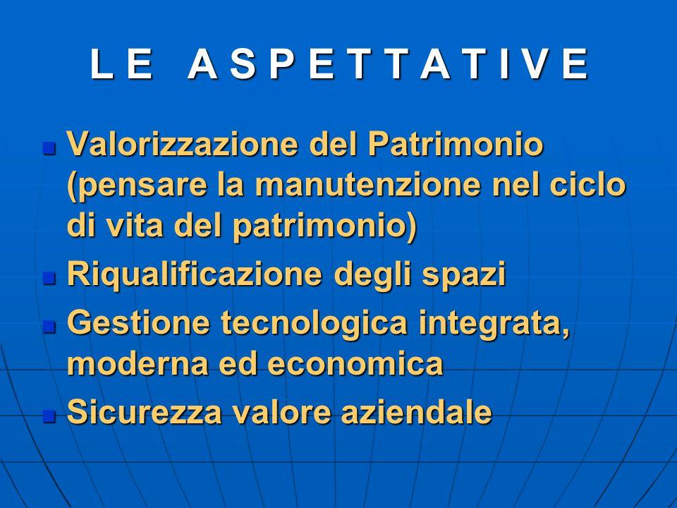 L E A S P E T T A T I V E Valorizzazione del Patrimonio (pensare la manutenzione nel ciclo di vita del patrimonio) Valorizzazione del Patrimonio (pens