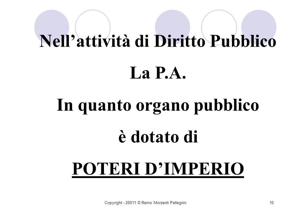 Copyright - 20011 © Remo Morzenti Pellegrini9 ATTI DI DIRITTO PUBBLICO: Posti in essere secondo i principi e le forme di Diritto Pubblico Atti Amm/vi