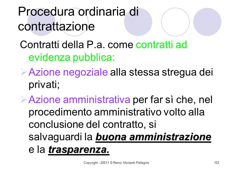 Copyright - 20011 © Remo Morzenti Pellegrini102 Contrattazioni inferiori a.2.000 Informale consultazione del mercato per garantire: Efficienza Efficac