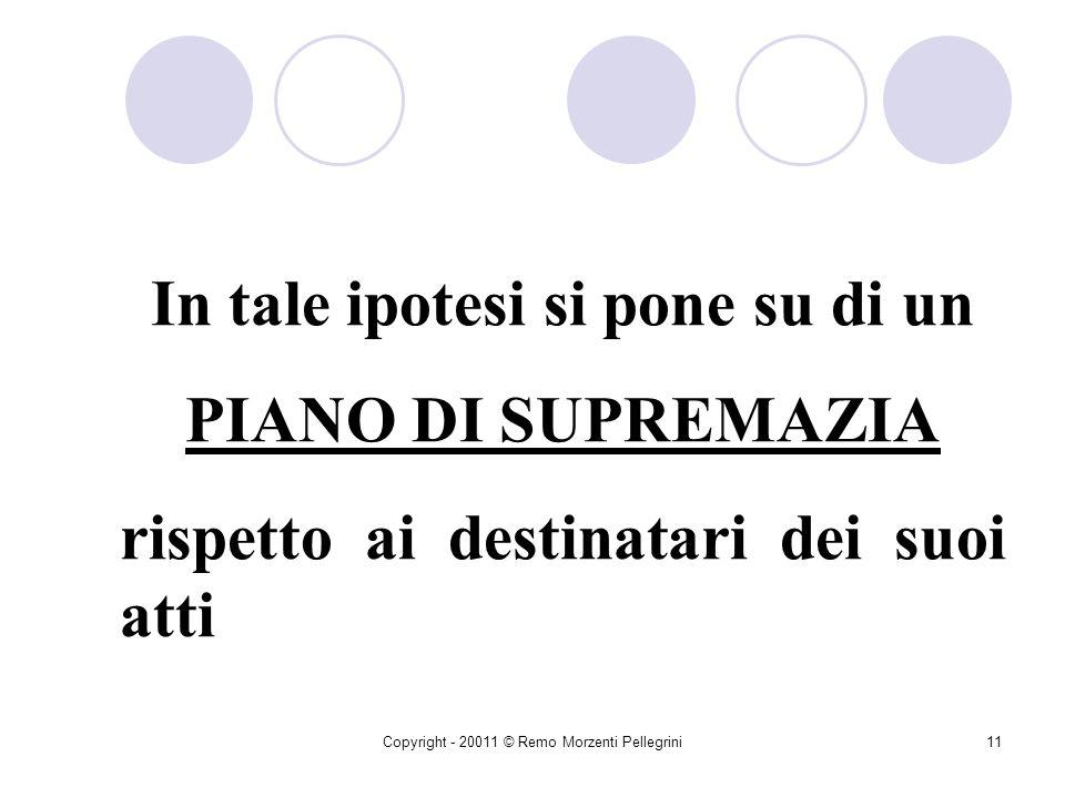 Copyright - 20011 © Remo Morzenti Pellegrini10 Nellattività di Diritto Pubblico La P.A. In quanto organo pubblico è dotato di POTERI DIMPERIO