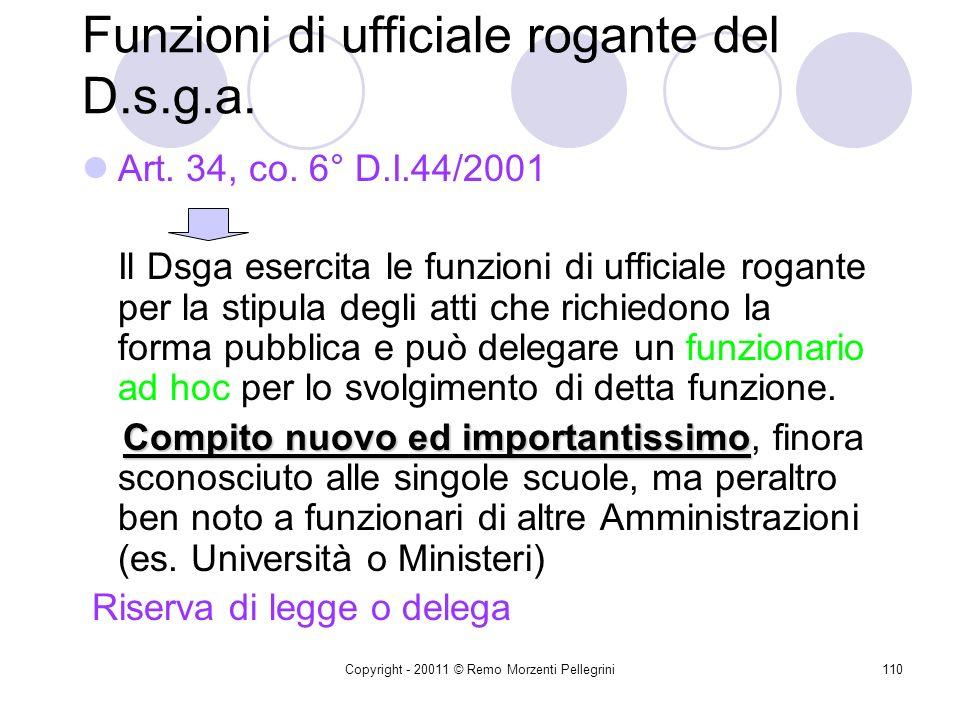 Copyright - 20011 © Remo Morzenti Pellegrini109 Art. 34,4° co. D.I. 44/2001 Lascia salva la possibilità di ricorrere alle procedure di gara disciplina