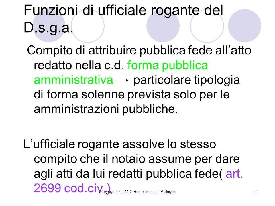 Copyright - 20011 © Remo Morzenti Pellegrini111 Funzioni di ufficiale rogante del D.s.g.a. Ratio Lufficiale rogante deve essere un funzionario diverso