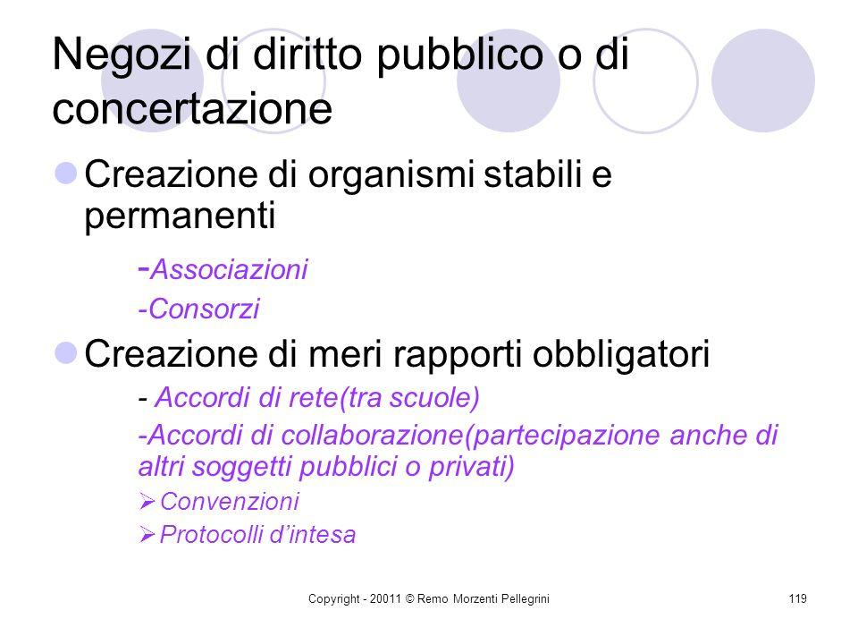 Copyright - 20011 © Remo Morzenti Pellegrini118 Tipologie dei negozi Negozi di diritto pubblico o di concertazione -Collaborazione tra scuole -Collabo