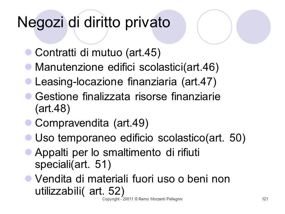 Copyright - 20011 © Remo Morzenti Pellegrini120 Negozi di diritto privato Alienazione di beni e fornitura di sevizi prodotti dalla scuola (art. 38 D.M