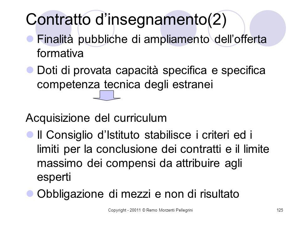 Copyright - 20011 © Remo Morzenti Pellegrini124 Contratto dinsegnamento (prestazione dopera intellettuale) Art. 40, 1° co. L. 449/1997 Art. 40 D.M. 44