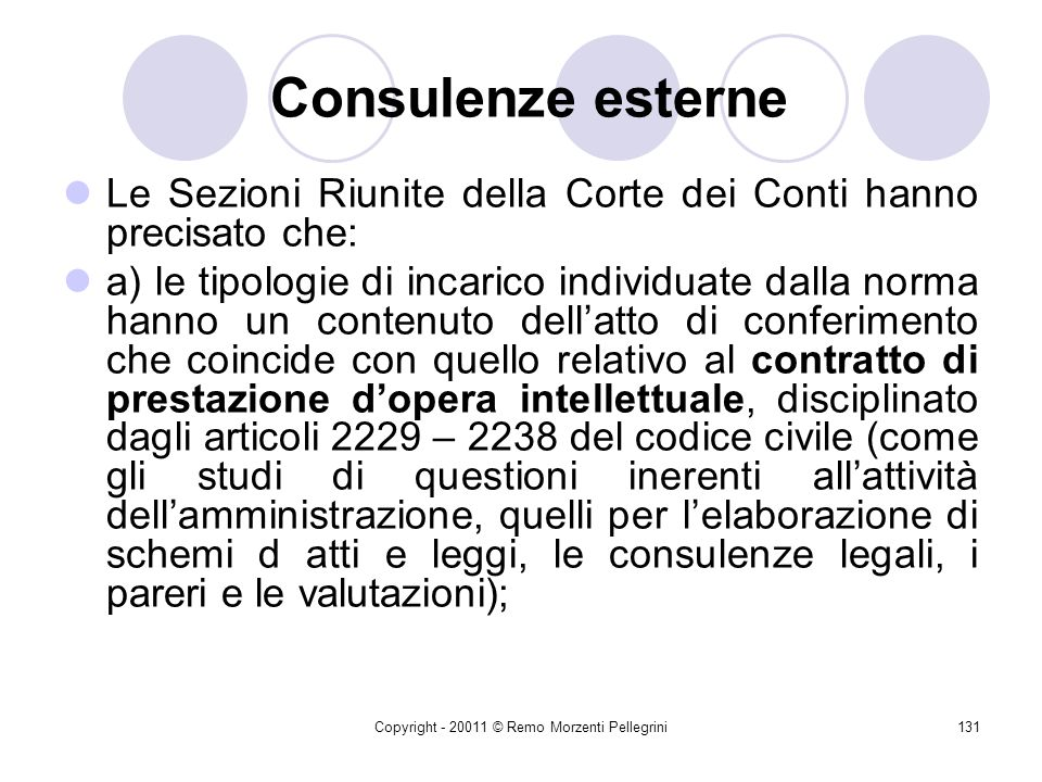 Copyright - 20011 © Remo Morzenti Pellegrini130 Consulenze esterne La finanziaria 2005 (LEGGE 30 dicembre 2004, n. 311) detta disposizioni concernenti