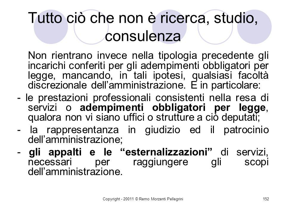 Copyright - 20011 © Remo Morzenti Pellegrini151 Studio, ricerca, consulenza Gli incarichi di studio Lart. 5 DPR n. 338/1994 determina il contenuto di