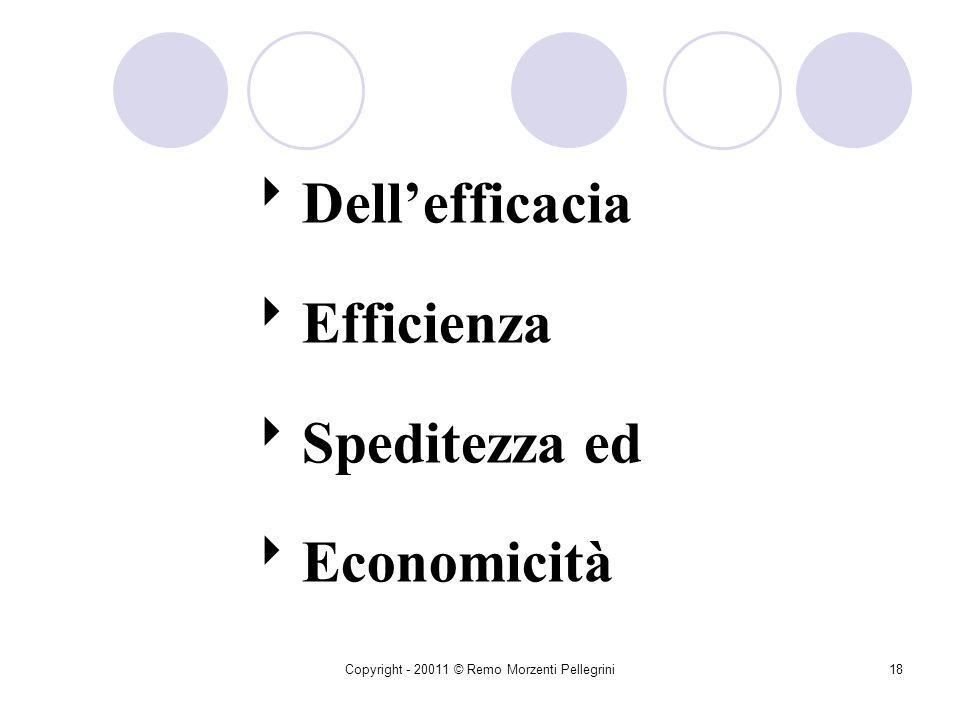 Copyright - 20011 © Remo Morzenti Pellegrini17 Buona Amministrazione Obbligo per i funzionari di svolgere la propria attività secondo le modalità più
