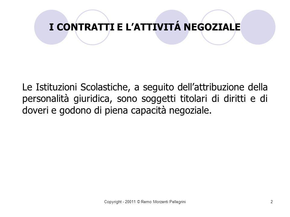 Copyright - 20011 © Remo Morzenti Pellegrini102 Contrattazioni inferiori a.2.000 Informale consultazione del mercato per garantire: Efficienza Efficacia Buon andamento Economicità(Art.