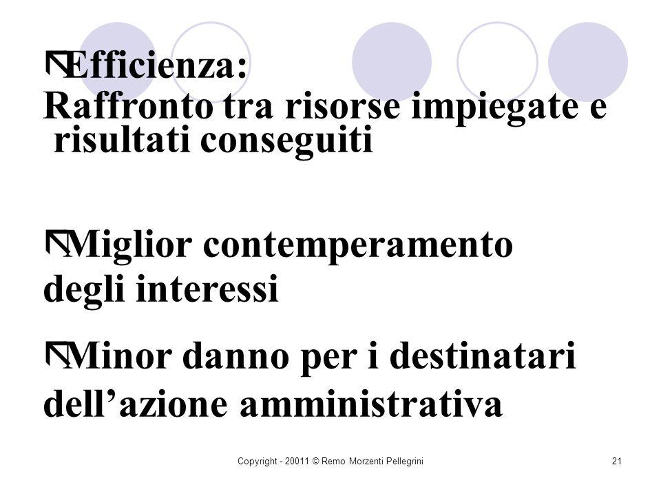 Copyright - 20011 © Remo Morzenti Pellegrini20 CRITERI GENERALI ãEconomicità: Ottimizzazione dei risultati in relazione ai mezzi a disposizione ãRapid