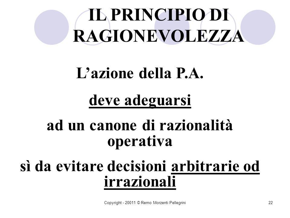 Copyright - 20011 © Remo Morzenti Pellegrini21 ãEfficienza: Raffronto tra risorse impiegate e risultati conseguiti ãMiglior contemperamento degli inte