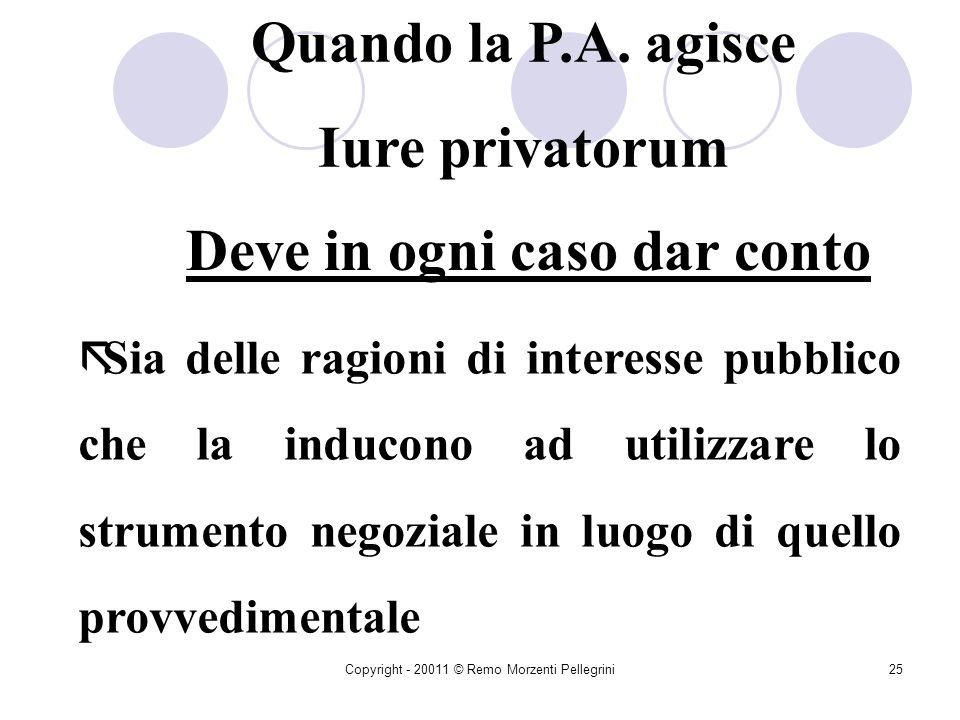 Copyright - 20011 © Remo Morzenti Pellegrini24 Lattività contrattuale dello Stato è Manifestazione della capacità di diritto privato della P.A. Regola