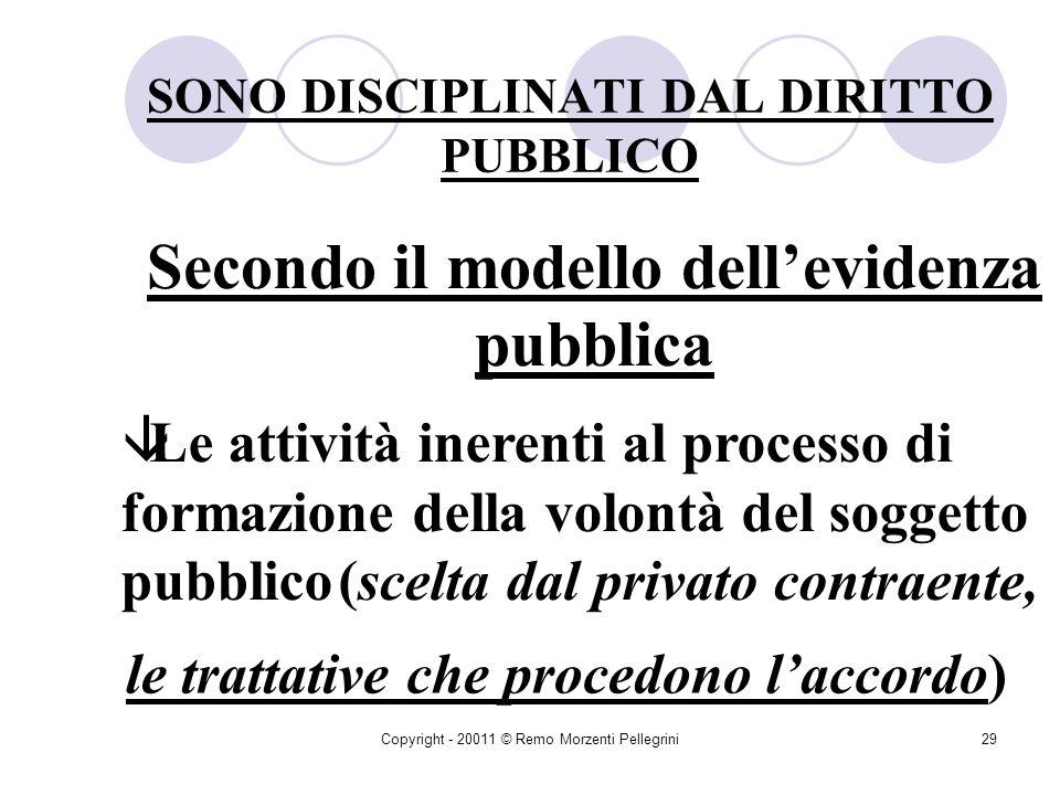Copyright - 20011 © Remo Morzenti Pellegrini28 SONO DISCIPLINATI DAL DIRITTO PRIVATO I limiti dellattività contrattuale della P.A Gli elementi essenzi