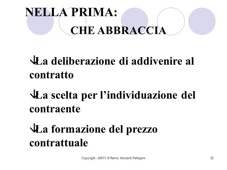 Copyright - 20011 © Remo Morzenti Pellegrini31 IN GENERALE Si distinguono due fasi in cui si svolge il rapporto contrattuale La prima anteriore La sec