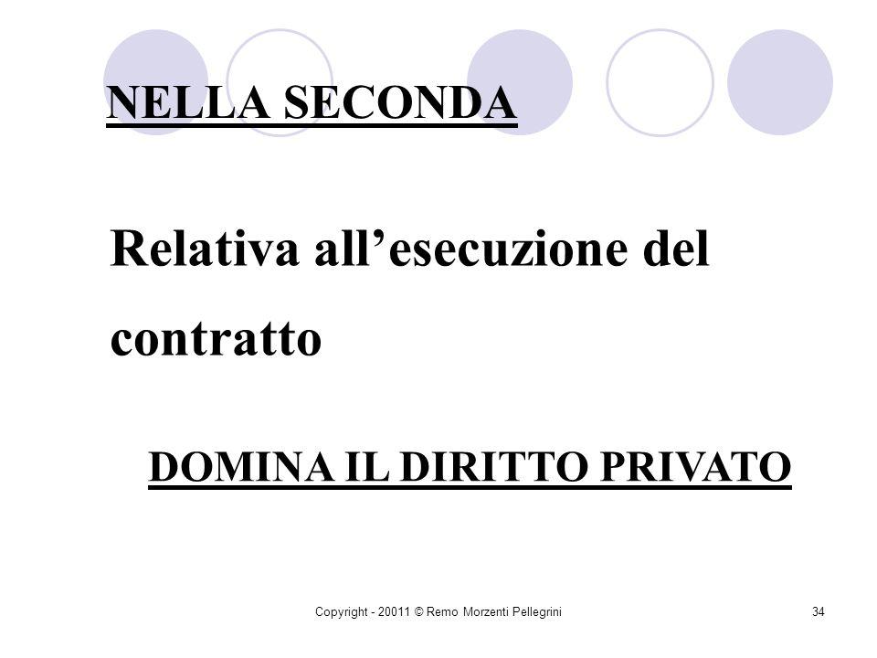 Copyright - 20011 © Remo Morzenti Pellegrini33 âLesperimento delleventuale gara âLa predisposizione delle clausole contrattuali âLapprovazione del contratto DOMINA IL DIRITTO PUBBLICO