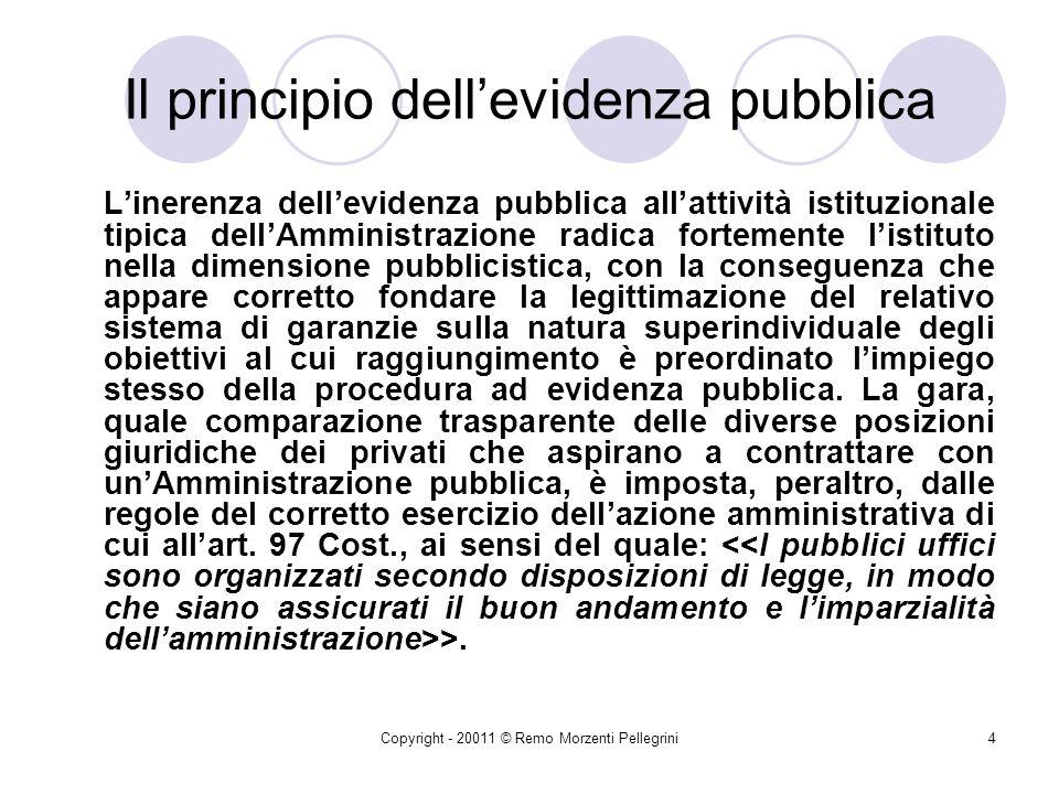 Copyright - 20011 © Remo Morzenti Pellegrini24 Lattività contrattuale dello Stato è Manifestazione della capacità di diritto privato della P.A.